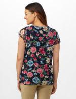Westport Floral Tier Knit Top - Navy - Back
