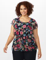 Floral Mesh Tier Knit Top - Plus - Navy - Front
