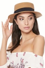 Spring/Summer Ribbon Round Flat Top Ladies' Hat - Straw - Front