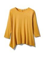Texture Shark Bite Hem Knit Tunic - Misses - Mustard - Front