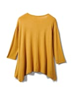 Texture Shark Bite Hem Knit Tunic - Misses - Mustard - Back