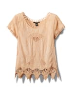 Embroidered Crochet Trim Blouse - 5