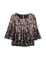Floral Border Print Bubble Hem Blouse - Black/Lavendar - Front