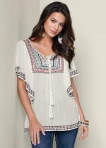 Multi Color Embroidered Peasant Top - white - Front