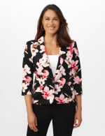 Floral Print Scuba Crepe Faux Pocket Jacket - Black/Light Flamingo - Front