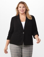 Plus 3/4 Ruched Sleeve Blazer with Faux Besom Pockets - Black - Front