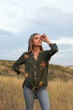 Olive Embroidered Button Front Woven Blouse - Olive - Front