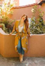 Womens Curve Enhancing Goddess Long Zebra Kimono - Yellow - Front