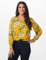 Ruffle V-neck Floral Blouse - Golden Mustard - Front