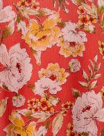 Floral Ruffle Sleeve Cold Shoulder Bubble Hem Blouse - 3