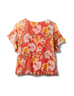 Floral Ruffle Sleeve Cold Shoulder Bubble Hem Blouse - Coral - Back