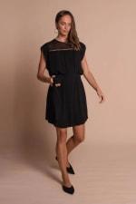 Amber Short Sleeve Sundress Dress - Black - Front