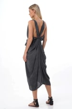 Iluh V-Neck Kaftan Dress - Charcoal - Back