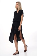 Uma Shirt Maxi Dress - Black - Back