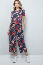 Floral Wide-Leg Cropped Pants - Denim - Front