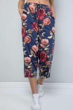 Floral Wide-Leg Cropped Pants - Denim - Detail