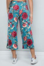 Floral Wide-Leg Cropped Pants - Mint - Back