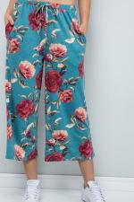 Floral Wide-Leg Cropped Pants - Mint - Detail