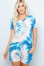 Vibrant Tie Dye Print Shorts - Blue - Front