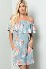 Off-Shoulder Floral Dress - Blue - Front