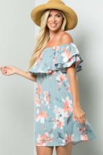 Off-Shoulder Floral Dress - Blue - Back