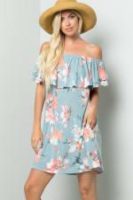 Off-Shoulder Floral Dress - Blue - Detail