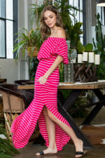 Off-shoulder Striped Maxi Dress - Fuchsia / Ivory - Back