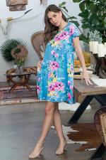 Let It Flow Floral Dress - Blue / Lilac - Front