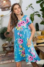 Let It Flow Floral Dress - Blue / Lilac - Detail