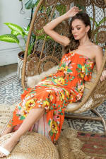 Ruffle Floral Strapless Maxi Dress - Citrus - Back
