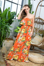 Ruffle Floral Strapless Maxi Dress - Citrus - Detail