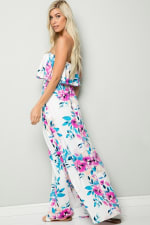 Ruffle Floral Strapless Maxi Dress - Ivory - Back