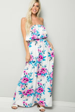Ruffle Floral Strapless Maxi Dress - Ivory - Front