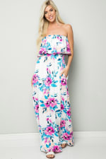 Ruffle Floral Strapless Maxi Dress - Ivory - Detail
