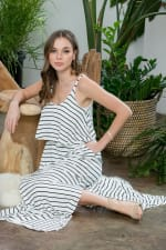 Striped Maxi Dress - Ivory / Black - Detail