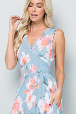 Floral Print Maxi Dress - Blue - Detail