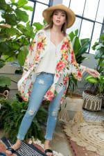 Floral Print Kimono - 4