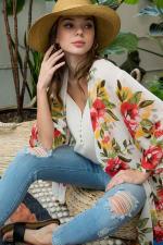 Floral Print Kimono - 5