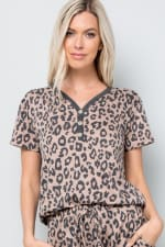Leopard Print Button Detail Top - Mocha - Detail