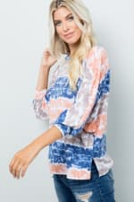 Vibrant Light-Colored Tie Dye Top - Ink blue - Detail
