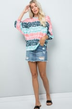 Vibrant Light-Colored Tie Dye Top - Mint - Front