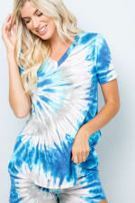 Tie Dye V-Neck Top - Blue - Detail