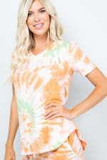 Tie Dye V-Neck Top - Orange - Detail