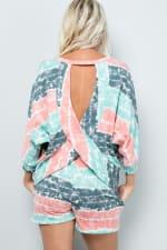Tie Dye Pullover Top - Mint - Back