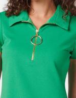Polo Collar Zip Dress - green - Detail
