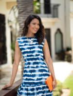 Marina Tie Dye Print Dress - Blue/White - Back