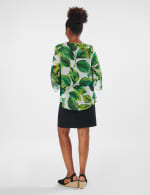 Leaf Print Jacket Dress - Green Multi - Back