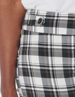 Cuffed Bermuda Short with Tab Waist Detail - White/Black/Brown - Detail