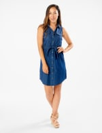 Button Front Sleeveless Denim Dress - Dark Wash  - Front