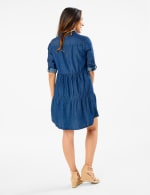 3/4 Sleeve Denim Shirt Dress - Dark Wash - Back